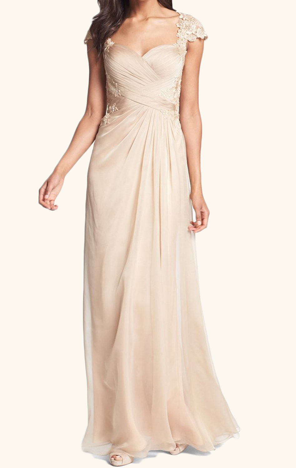 561a27bf8522 MACloth Cap Sleeves Lace Chiffon Long Mother of the Brides Dress Champagne  Wedding Party Formal Gown